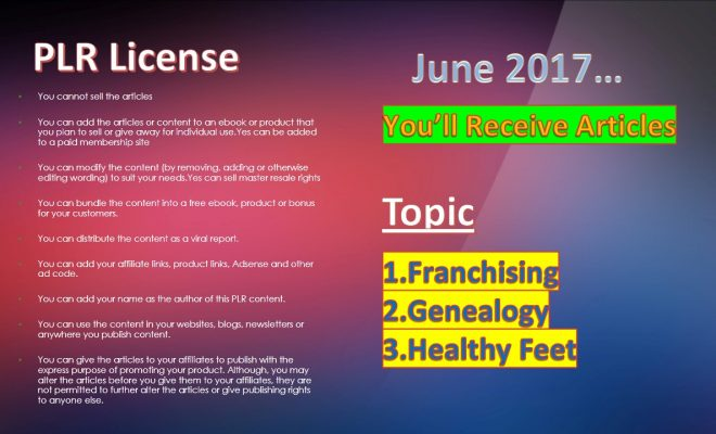 PLR Articles For The Month Of June 2017